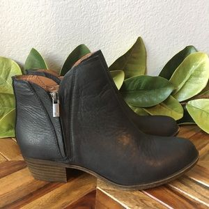 Lucky Brand Breah Black Leather Ankle Boots
